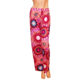 PALAZZO PANTS pink-multicolor stretch hippie bohemian style maat 40