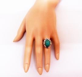 RING TURQUOISE #3 tibetaans zilver met turquoise steen