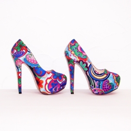 FLOWER POWER pumps maat 37 blauw (#2) bloemenprint