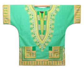 Afrikaans DASHIKI shirt ANGELINA MINT GREEN | african Wax Java Print van VLISCO | unisex