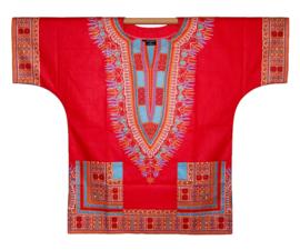 Afrikaans DASHIKI shirt ANGELINA RED | african Wax Java Print van VLISCO | unisex