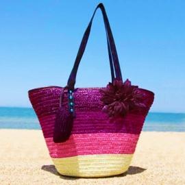 STRANDTAS BLOEM paars | zomerse shopper van stro