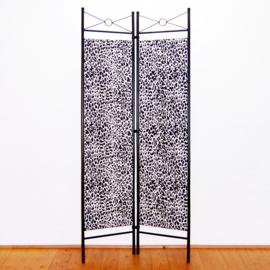 Kamerscherm LEOPARD zwart-wit | 2-delig, vouwbaar | room divider | 180 cm x 80 cm