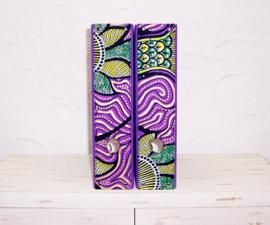 Ordners PAARS met rug van afrikaanse wax print | 8 cm breed | set van 2