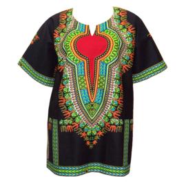 Afrikaans DASHIKI shirt ZWART-ROOD | african wax print | unisex party festival blouse