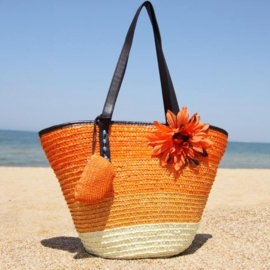 STRANDTAS BLOEM oranje | zomerse shopper van stro