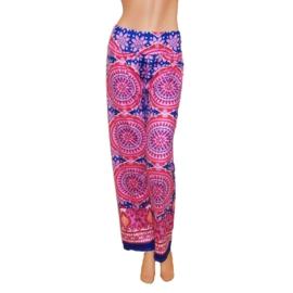 PALAZZO PANTS blauw-roze stretch hippie bohemian style maat 40