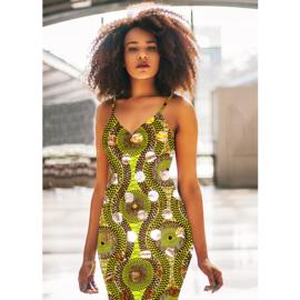 162 Afrikaanse stof met goud | African Wax Print 100% cotton  | prijs/meter