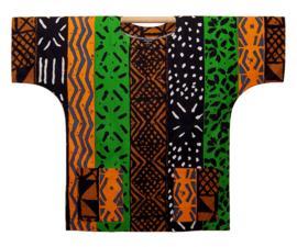 Afrikaans DASHIKI shirt MUD CLOTH MALI orange | african wax print | unisex festival blouse