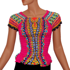 AFRICAN GYPSY SMOCK TOP mozaiek PINK | baby doll topje in 3 maten