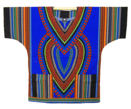 AFRIKAANS DASHIKI SHIRT heart BLAUW | unisex zomer party festival blouse