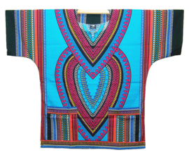 AFRIKAANS DASHIKI SHIRT heart AZUURBLAUW | unisex zomer party festival blouse