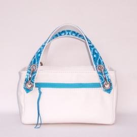 FUNKE wit leren handtas met blauw paisley printed cotton