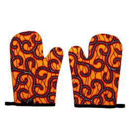 Ovenwanten ZEZI | set van 2 | met afrikaanse wax print  | in cadeautasje