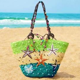STRANDTAS 3-COLOR groen | exotische shopper van stro