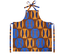Afrikaanse keukenschort BLUU | unisex | 100% katoen african wax print