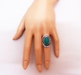 RING TURQUOISE #4 tibetaans zilver met turquoise steen