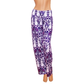 PALAZZO PANTS wit-paars stretch hippie bohemian style maat 40