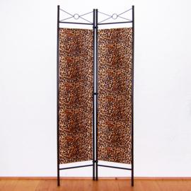 Kamerscherm LEOPARD bruin | 2-delig, vouwbaar | room divider | 180 cm x 80 cm