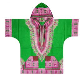 DASHIKI hoodie ANGELINA GREEN   african Wax Print van VLISCO   unisex   maat L