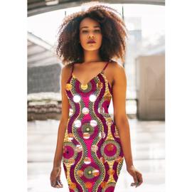 161 Afrikaanse stof met goud | African Wax Print 100% cotton  | prijs/meter