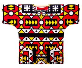 Afrikaans DASHIKI shirt SAMAKAKA ANGOLA rood | african wax print | unisex party festival blouse