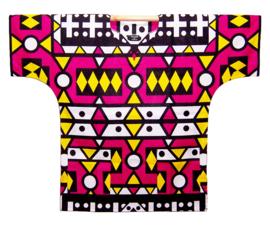 Afrikaans DASHIKI shirt SAMACACA ANGOLA pink-geel | african Super-Wax print | unisex