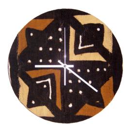 SIKASSO afrikaanse klok | african chic woondeco met mud cloth uit Mali | 34 cm Ø