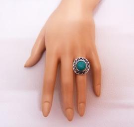 RING TURQUOISE #6 tibetaans zilver met turquoise steen