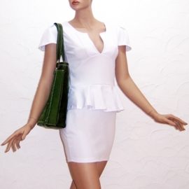 KIJANI + mini tasje groene leren shopper / strandtas met paisley print