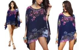CHIFFON BLOUSE donkerblauw met bloemenprint maat M-XL
