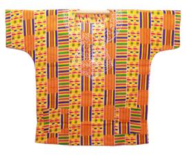 CULTURAL KENTE DASHIKI GEEL | unisex afrikaans Ashanti shirt