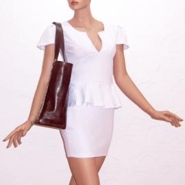 GIZA + mini tasje bruine leren shopper / strandtas met paisley print