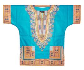 Afrikaans DASHIKI shirt ANGELINA TURQUOISE | african Wax Java Print van VLISCO | unisex