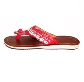 HIPPIE IBIZA slippers met cowry schelpjes rood maat 37 t/m 41