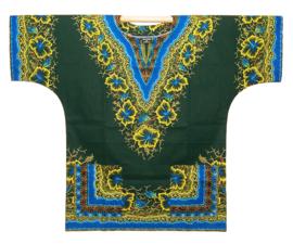 Afrikaans DASHIKI shirt GREEN-BLUE | african Wax Java Print van VLISCO | unisex