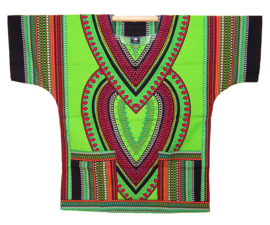 AFRIKAANS DASHIKI SHIRT heart LIME GROEN | unisex zomer party festival blouse