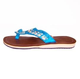HIPPIE IBIZA slippers met cowry schelpjes blauw maat 37 t/m 41