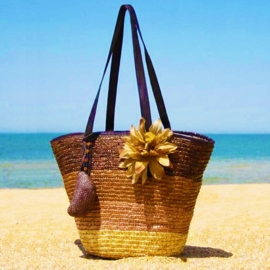 STRANDTAS BLOEM bruin | zomerse shopper van stro
