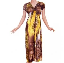 AFRICAN GYPSY JURK geel-bruin hippie Ibiza style lange zomerjurk maat 38/40