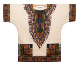 Afrikaans DASHIKI shirt ANGELINA CRÈME | african Wax Java Print van VLISCO | unisex