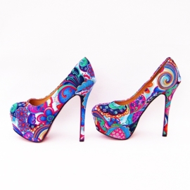 FLOWER POWER pumps maat 39 blauw (#2) bloemenprint