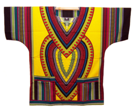 AFRIKAANS DASHIKI SHIRT heart DONKERGEEL | unisex zomer party festival blouse