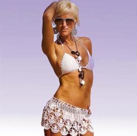 GEHAAKTE PAREO + TOPJE wit strandrokje en bikini-topje   gypsy chic maat 36