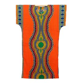 AFRIKAANS DASHIKI SHIRT LANG mozaiek ORANJE | zomer party festival kaftan