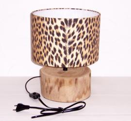 LEOPARD tafellamp met houten lampenvoet | diameter 25 cm x hoogte 32 cm