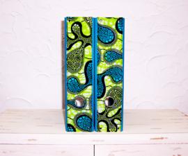 Ordners TURQUOISE met afrikaanse wax print | 8 cm breed | set van 2
