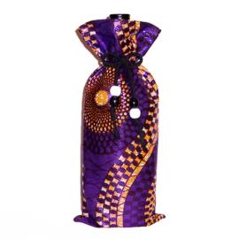 PURPLE PARTY wijntas van afrikaanse wax print | wine bag met koord en houten kralen