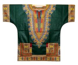Afrikaans DASHIKI shirt ANGELINA DARK GREEN | african Wax Java Print van VLISCO | unisex