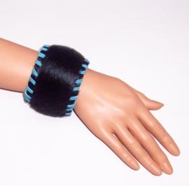 ZHENGA leren bohemian armband koeienhuid zwart turquoise size M
